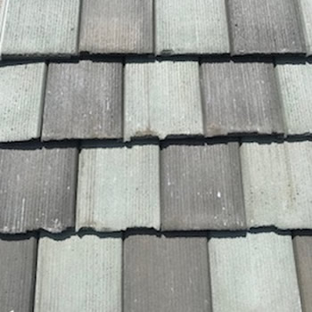 In Stock Roofing Tiles - 50% Moss Rock and 50% Oak Flat Shake Tile
